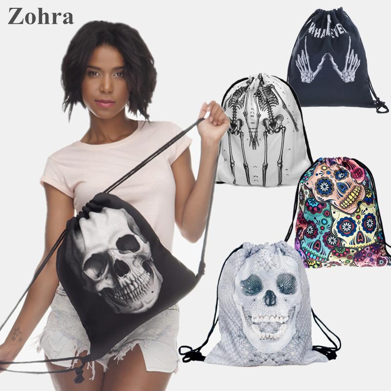 Skull bones 3D printing Women s Men s Gym Bags mochila feminina bolso de lazo Travel