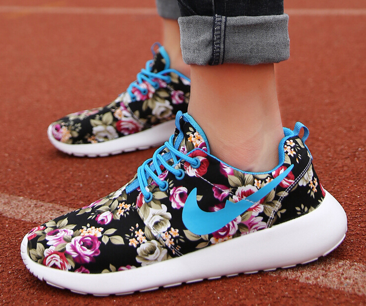 2015 New Design Flower roshelis trainers Women running sports shoes London Mesh flower Colorful women sneakers Shoes Size 36-40(China (Mainland))