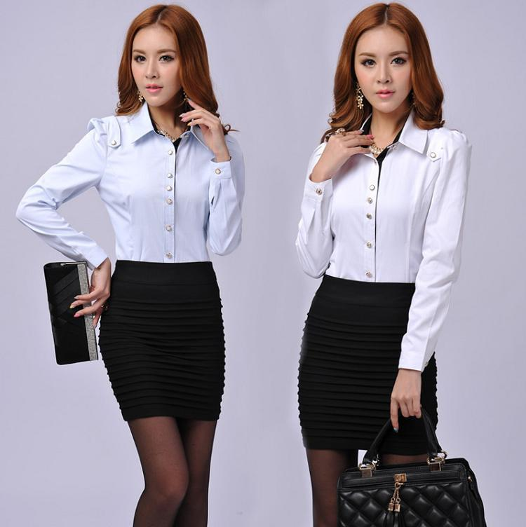 Simple Fashion Women Business Skirt Suits White Ruffle Blouse With Black