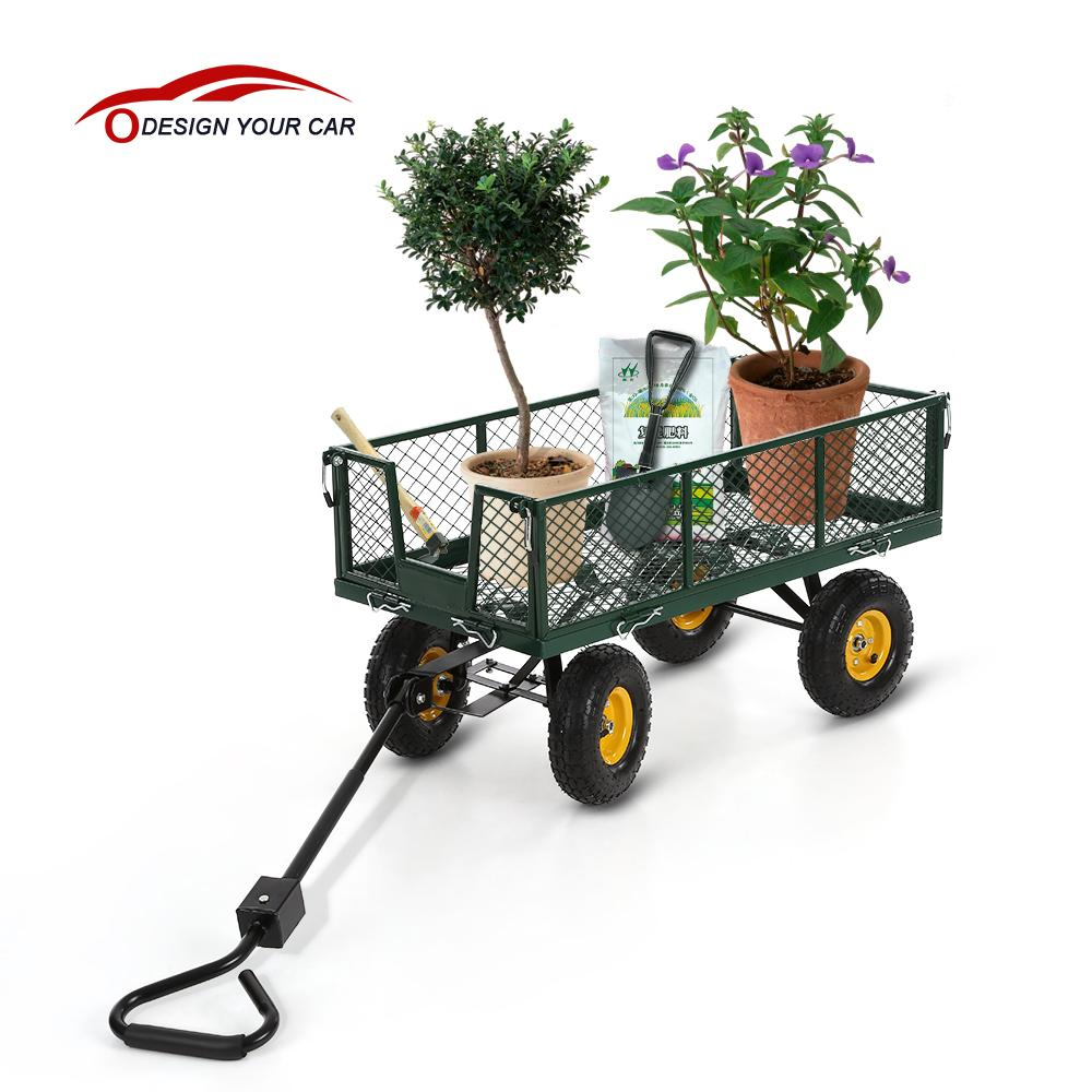 IKAYAA Multi-use trailer remorque Heavy-duty Steel Utility Garden Cart 300kg Capacity Beach Outdoor Lawn Wagon Dump Cart(China (Mainland))