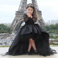 pageant dresses little girls 2016 Black Long Sleeve Hi Low flower girl kids prom - Wedding Dresses Just for Bridal store