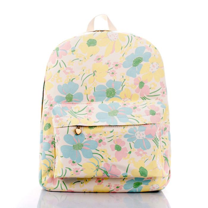 yellow bauhinia backpack sweet girl canvas tide female fashion bags students bag wrapped - jian ye's store