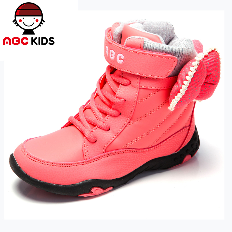 ABC KIDS Girls Snow Boots Winter Style kids High-top Barreled Plus Velvet Warm Cotton-Padded Children's Footwear  -  shoes store