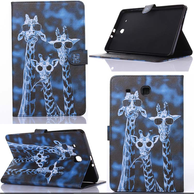 For Samsung Galaxy Tab E 9 6inch T560 T561 tablet painting cartoon PU Leather flip stand
