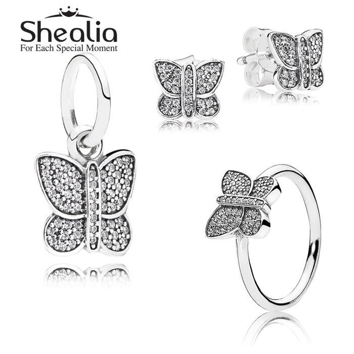 2015 New 925 Sterling Silver Insect Jewelry Sets-Pave Butterfly Stud Earrings /Pendant /Ring For Women DIY Accessories SHEALIA