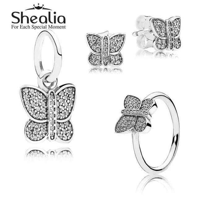 925 чистое серебро насекомое ювелирные комплект - проложить бабочка серьги-гвоздики / кулон / кольцо для женщины своими руками аксессуары SHEALIA