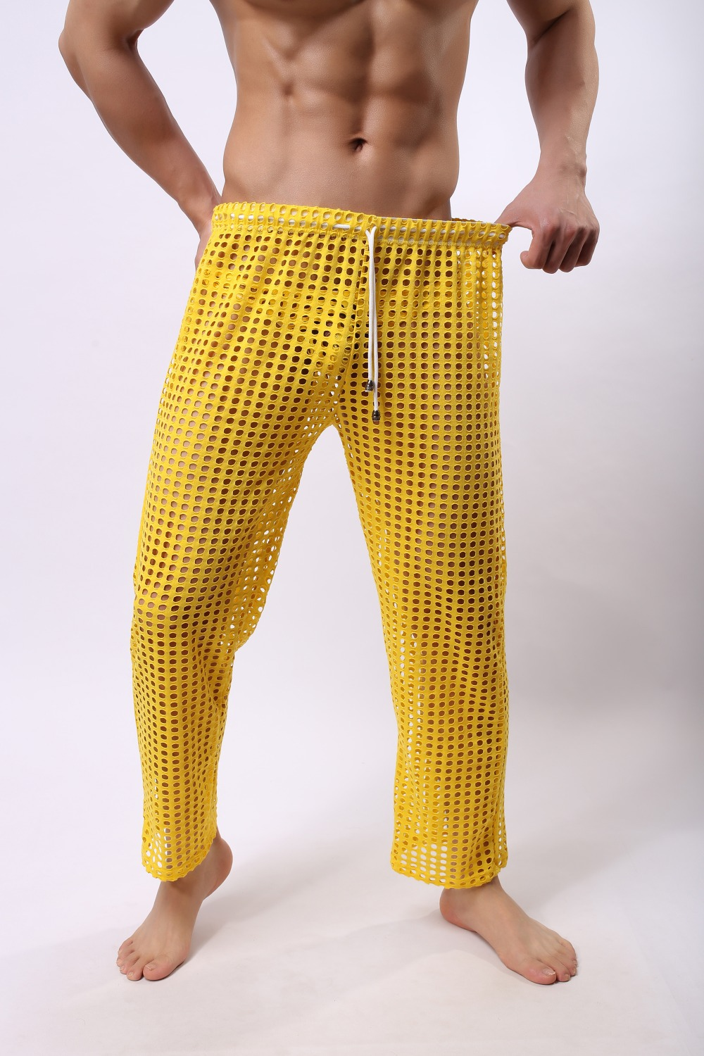sexy Faux Leather openwork mesh long men pants long trousers Black red white yellow green,sexy men transparent men underwear(China (Mainland))