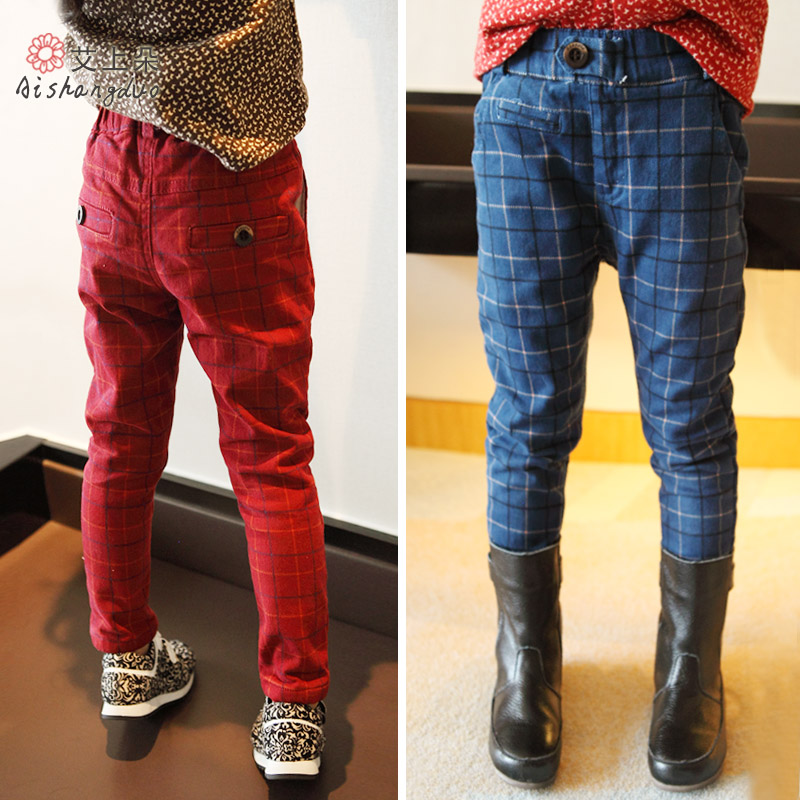 Female child trousers 2014 winter plus velvet thickening check casual straight pants - Christina Show store