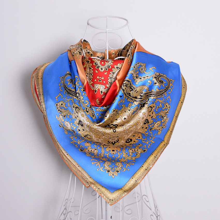 Blue Red Orange Silk Scarf 90*90cm Large Square Wraps Scarves Spring Summer Ladies 100% Mulberry Silk Shawl Scarf cachecois(China (Mainland))