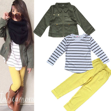 Girls clothing set Outfit Long Sleeve Coat + t shirt + leggings 3 Pieces suit jacket tops Stripe Fashion Army Green kids clothes(China (Mainland))
