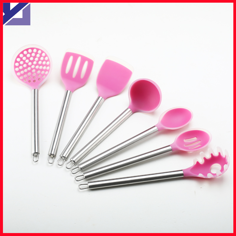 Silicone Cooking Tools Silicon Ladle 7pcs Set Stainless Steel Kitchen Cooking Utensils Cooking Gadget Kitchen Sets(China (Mainland))