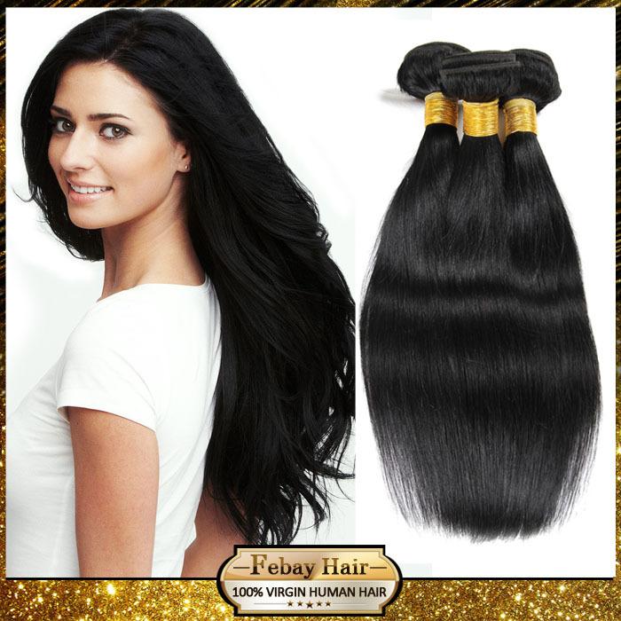 Febay péruvienne vierge cheveux raides 3 pcs/lote livraison gratuite 6A année péruvienne Extensions de cheveux humains vierge péruvienne cheveux raides(China (Mainland))