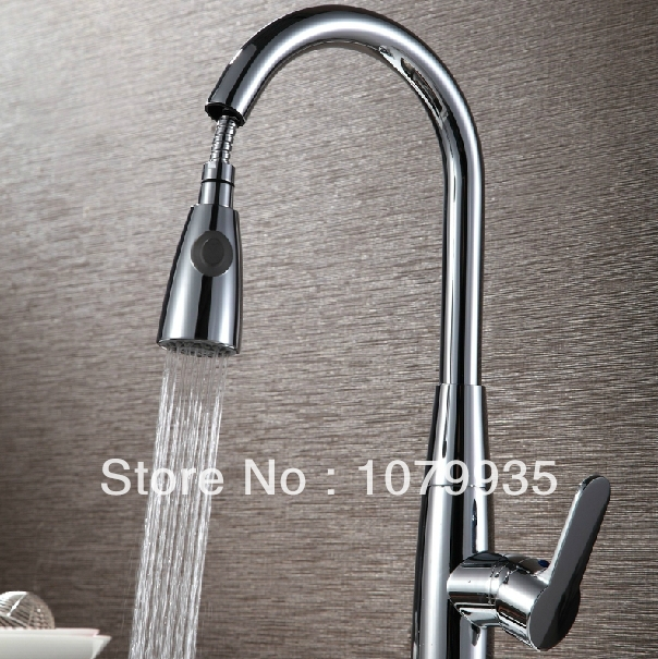 Factory Direct Sale Free Shipping Pull Out Kitchen Faucet Solid Brass Thicken Chrome Spring