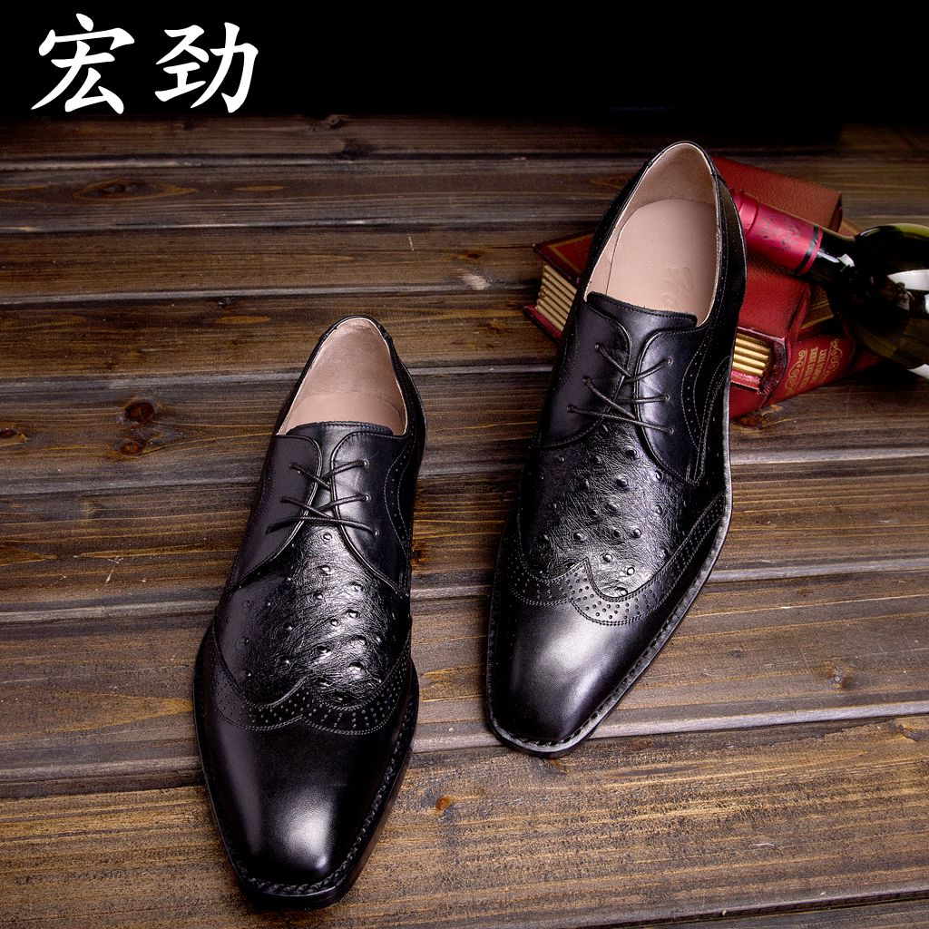 Wang Jin custom business attire Italy small leather men's shoes ostrich leather shoes sole Goodyear manual(China (Mainland))