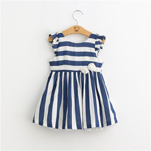 Baby Girls Stripe Floral Tulle Dresses Kids Girl Summer Cotton Ruffle Sleeve Dress Girl Princess Dress 2016 Children's Clothing