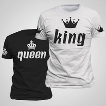 Buy Valentine Shirts Woman Cotton King Queen Funny Letter Print Couples Leisure T-shirt Man Tshirt Short Sleeve O neck T-shirt for $5.99 in AliExpress store