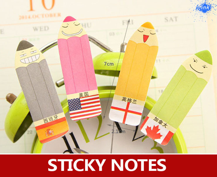 Novelty color pencil memo pads , creative national flag sticky notes as post it notes for funny stationary , mood post-it notes<br><br>Aliexpress