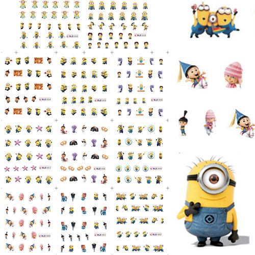 11 Styles in 1 Yellow Cartoon Nail Art Water Transfers Sticker Decal Nails Wraps Stylish for UV Gel Polish Tips #BLE1852-1862(China (Mainland))