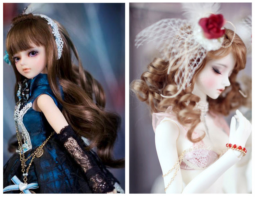BJD SD Doll Wigs Hair For Barbie Doll DIY Excessive-temperature Wire Curly Wave Wig Pure Colour Wigs Hair