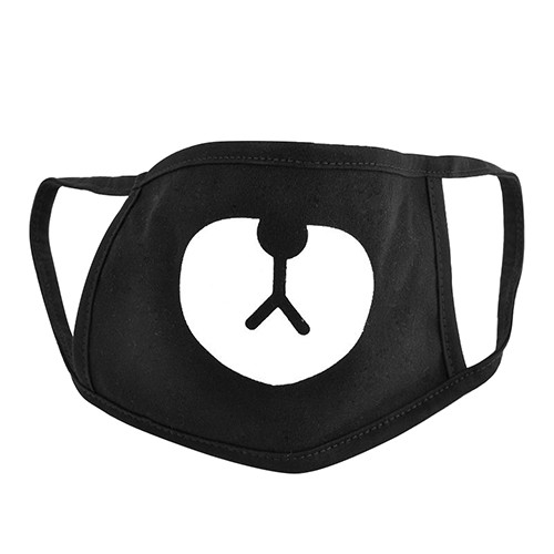 Unisex Black Cute Bear Cotton Mouth Face Mask Respirator for Cycling Anti-Dust  ANBF