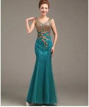2015 new design evening dresses gold appliques dresses see-through back  prom party  dress vestidos de festa free shipping(China (Mainland))