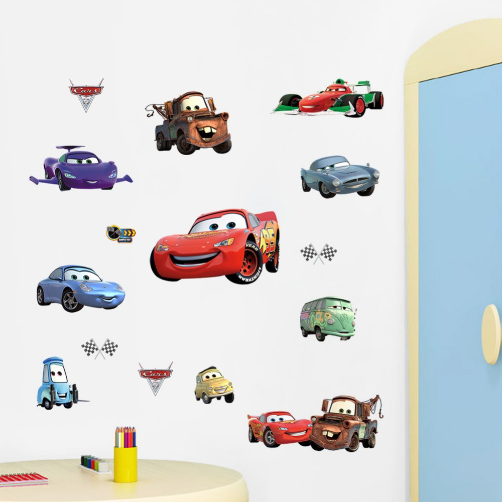 % 3D Cartoon movie Pixar Cars waterproof removable 3D wall stickers children Kids room home decor bedroom wholesale art poster(China (Mainland))
