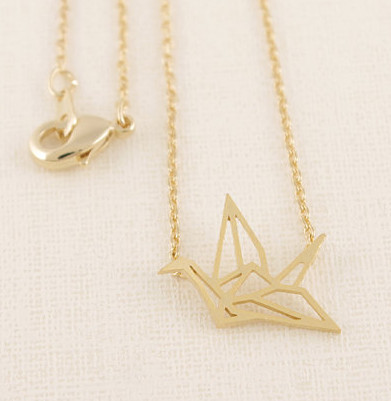 2015 Fashion 18K Gold Origami Crane Necklace Female Cute Tiny Birds Neclaces For Women Colgantes Mujer(China (Mainland))