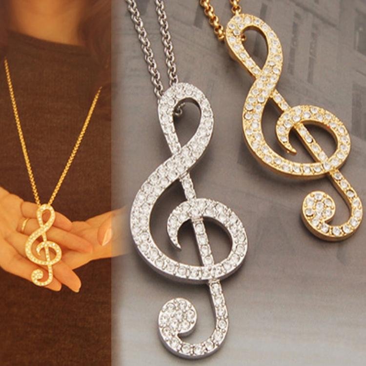 Fashion Crystal Decoration Music Symbol Pendants Necklace Charm Jewelry NL-0428(China (Mainland))