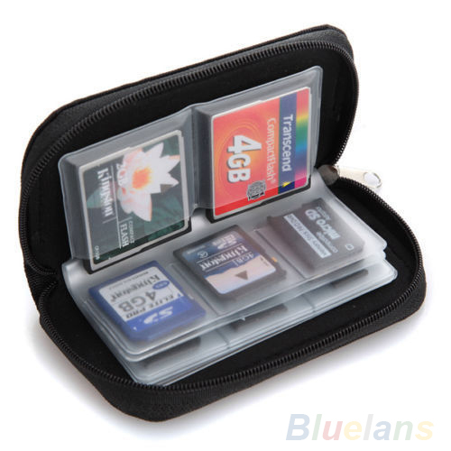 Black SD SDHC MMC CF Micro SD Memory Card Storage Carrying Pouch bag Case Holder Wallet 08N8(China (Mainland))