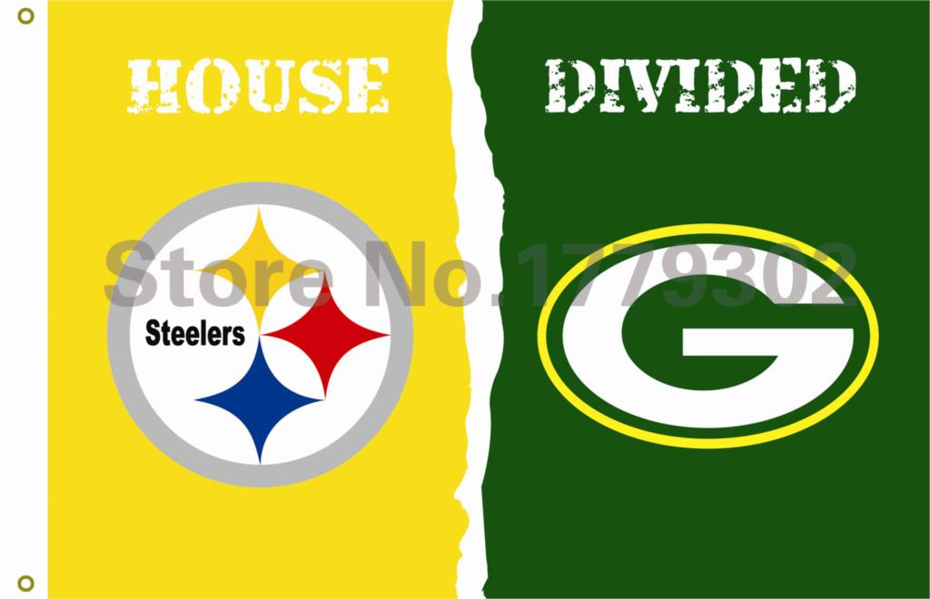 Pittsburgh Steelers Green Bay Packers House Divided Flag 3ft x 5ft Polyester NFL Banner Flying Custom flag(China (Mainland))