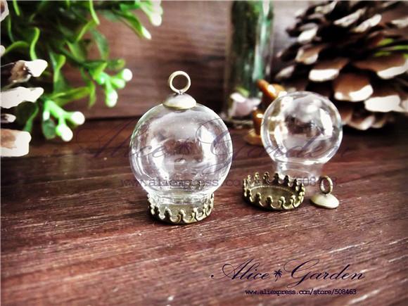 Free ship!!! 100sets/lot 20*12mm glass globe & crown base & cap finding set glass globe set glass vial pendant glass cover