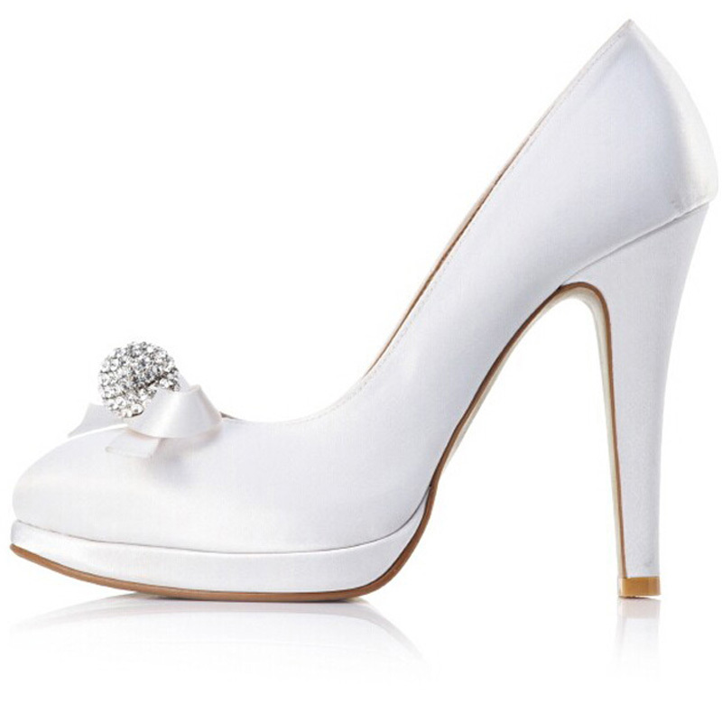 2015 fashion White Satin Stiletto Hees Closed-toes Prom Shoes Charming Lady Bridal Wedding Shoes Woman Formal Dress Shoes<br><br>Aliexpress