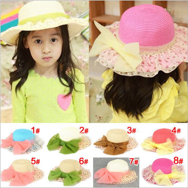 straw sun hats summer girls Sunbonnet big bowknot flower hat Brim small broken 1 BS042 - Anne Fashion Accessories Shop store