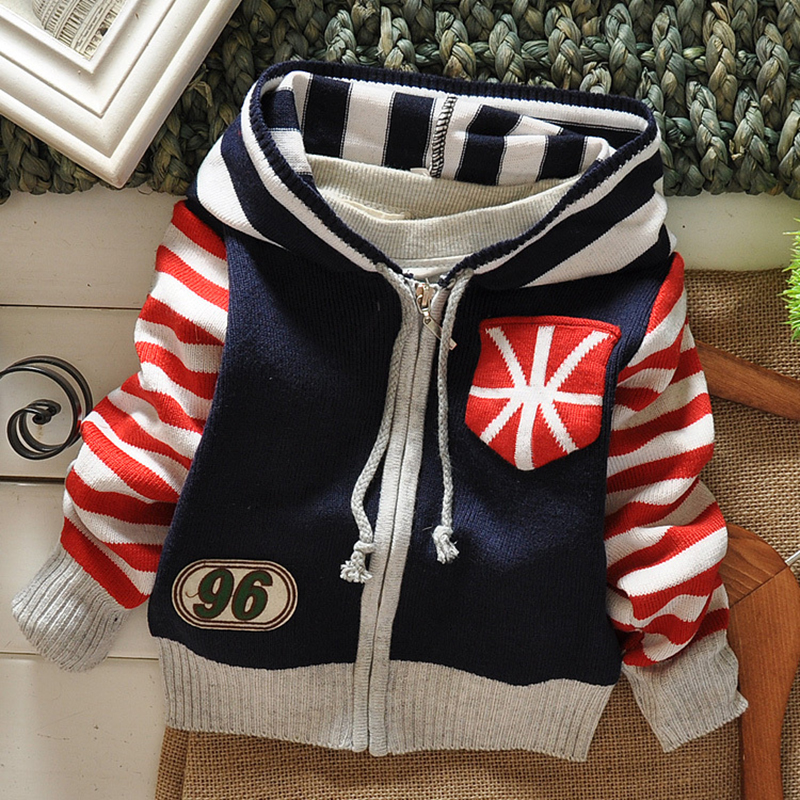 New Autumn Winter Boy's Sweater Baby Boys Sweaters Cardigans Kids Casual Sweaters Stripe Sweater Hooded Boys Outerwear(China (Mainland))