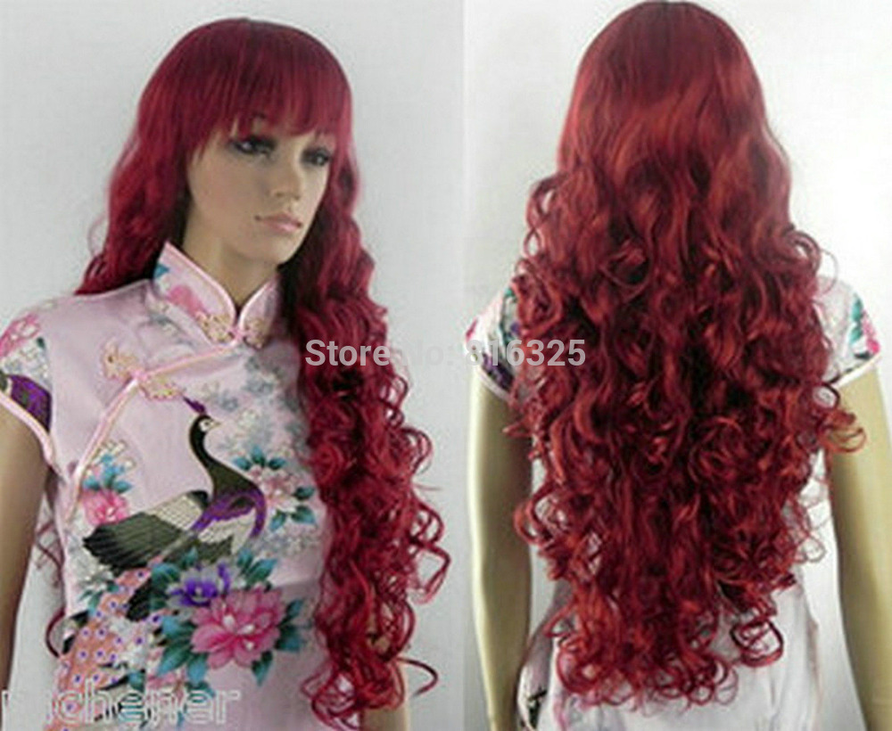 D&M3251 >Long Copper Red Curly Cosplay Lady's Hair Wig/Wigs(China (Mainland))
