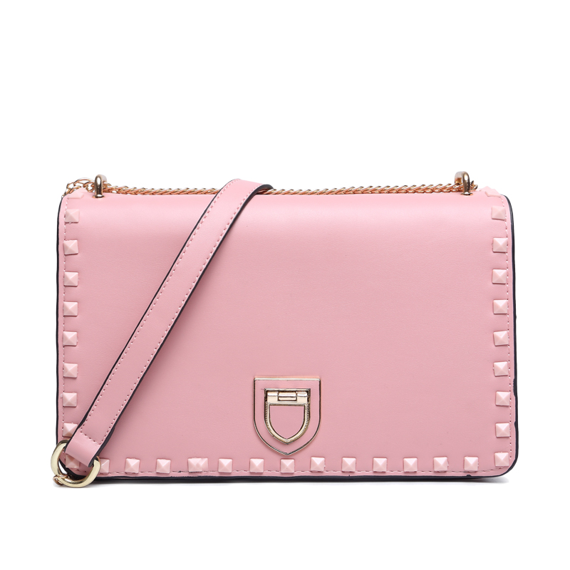 WOMENS CANDY COLOR BAGS PINK RIVET CHAIN CROSSBOD BAGS LADYS FASHION LEATHER SOLID SHOULDER BAGS FLAP POCKET HASP JBB150614 <br><br>Aliexpress