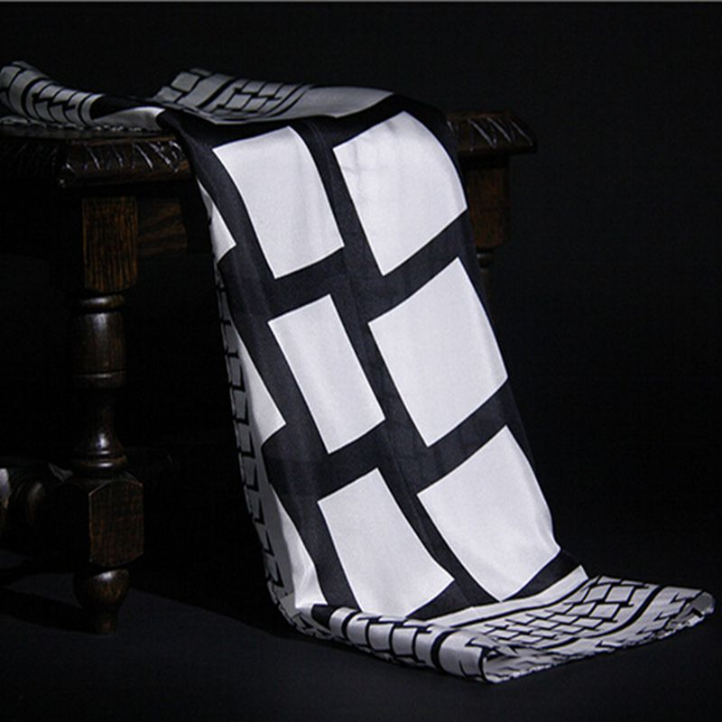 Fashion Temperament Black White Plaid Pattern Pure Silk Scarf, Women's Small Square Silk Scarves Wraps Necktie 52cm Accessory(China (Mainland))