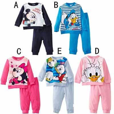 5 sets / lot 2014 New Autumn Mickey & Minnie & Donald Duck Fashion Kids Pajamas Sets Casual Pyjamas ( T - shirts + Pants ) 1025(China (Mainland))