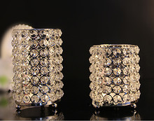 Crystal Candle Holders Set 2 Pieces Bar Decoration Big one 18.2*11*11 CM Small One 14*11*11 CM(China (Mainland))