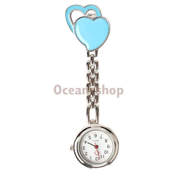 Chest Pocket Watch Nurse Table Sweet Heart Quartz with Clip Gorgeous T 3T