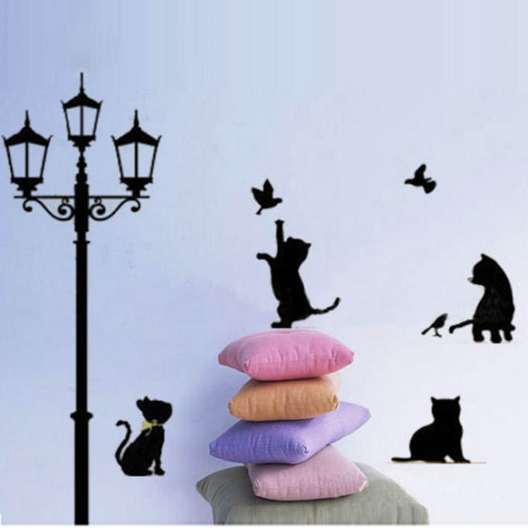Removable Wall Stickers Decal Art Vinyl Mural Decal Decor Lovely Cats Street Lamp lighs Pattern Home Accessories on Sale(China (Mainland))