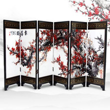 Decoration Beautiful Chinese Lacquer Handwork Painting Screen Decor Furnishing Articles Folding Screen(China (Mainland))