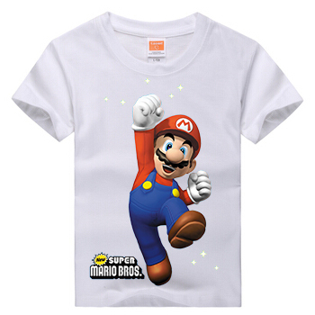 Retail Brand 2016 New Baby&Kids Girls T-shirt Child Clothing Summer Clothes Short Sleeve Tees Shirts Boys Cartoon Mario Tops - Xinxin Baby store