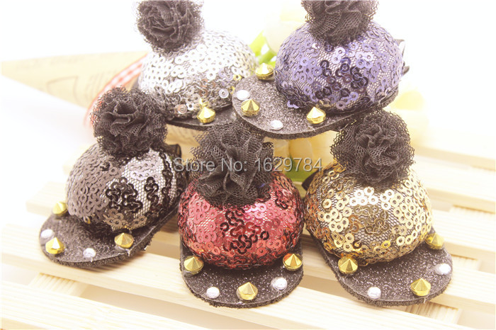 Wholesale 10pcs/lot Fashion Cute Messey Sequin Cap Baby Girls Hairpin Glitter Baseball Hat Girls Hairclip Baby Hair Accessories(China (Mainland))