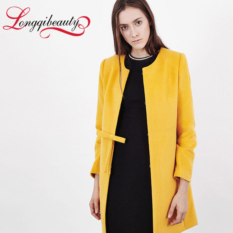 2015 New Fashion Women Trench Woolen Coats Winter Slim Long Sleeve Overcoat Round Neck Bowknot Long Poncho Outerwear FemaleОдежда и ак�е��уары<br><br><br>Aliexpress