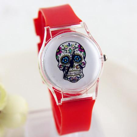 13 Colors Jelly Silicone Punk Style Skull Gothic Wrist Watch Ladies Women Men Transparent Plastic Quartz Watch women dress Watch(China (Mainland))