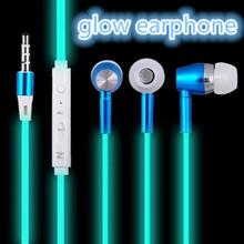 3.5 Luminous night light earphone glow in ther dark 3.5mm aux audio jack in-ear ear phone for xiaomi mi 5 mi5 mi4c Meizu huawei(China (Mainland))