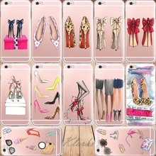 Gorgeous High Heel Shoes Silicon Phone Cases Cover For iphone 6 6s Transparent Clear Cell Phone Case