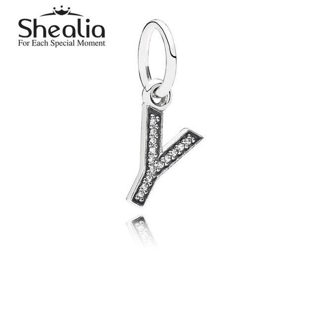 Shealia ювелирные изделия стерлингового серебра 925 проложить письмо Y алфавит мотаться подвески подвеска для женщин подходит известный бренд DIY браслеты LE13Y