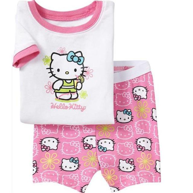 Летом привет котенок новорожденных девочек пижамы ребенок Pijamas с коротким рукавом хлопок пижамы дети одежда CF212